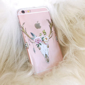 Floral Deer Skull on Clear Printed iPhone Case