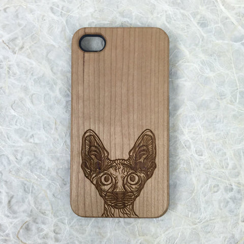 Sphynx Cat Engraved on Wood iPhone Case