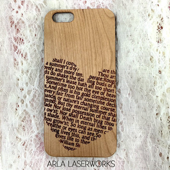 Shakespeare Sonnet Engraved on Wood iPhone Case
