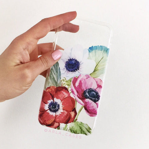 Poppy Flowers on Clear Printed iPhone Case