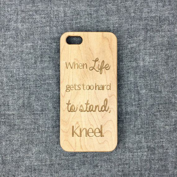 Prayer Engraved on Wood iPhone Case