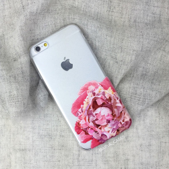 Peony on Clear Printed iPhone Case