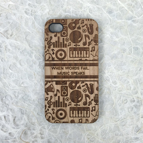 Music Lover Quote Engraved on Wood iPhone Case