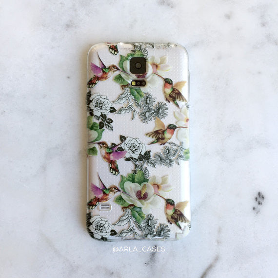 Hummingbirds on Clear Printed Galaxy Case