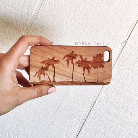 Palm Trees Wood iPhone and Galaxy Phone Case