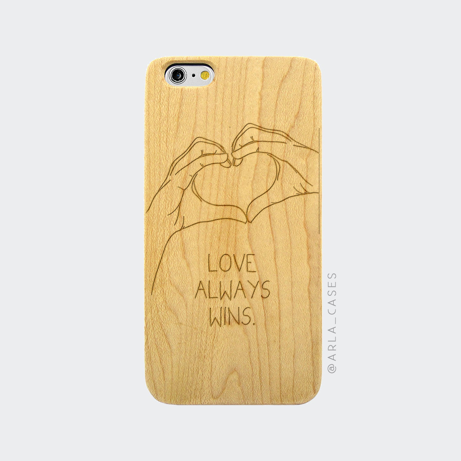 Love Always Wins Engraved on Wood iPhone Case