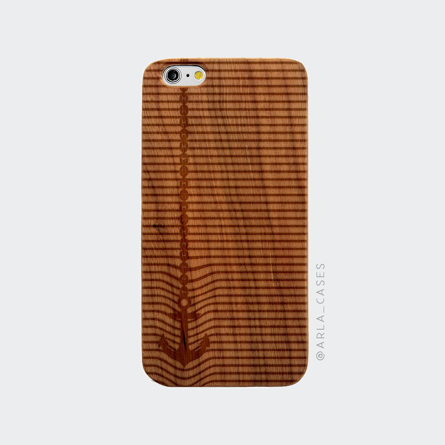 Anchor Stripes Engraved on Wood iPhone Case