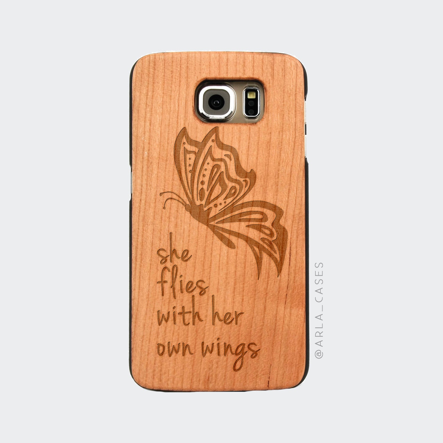 Butterfly Quote Engraved on Wood Galaxy Case
