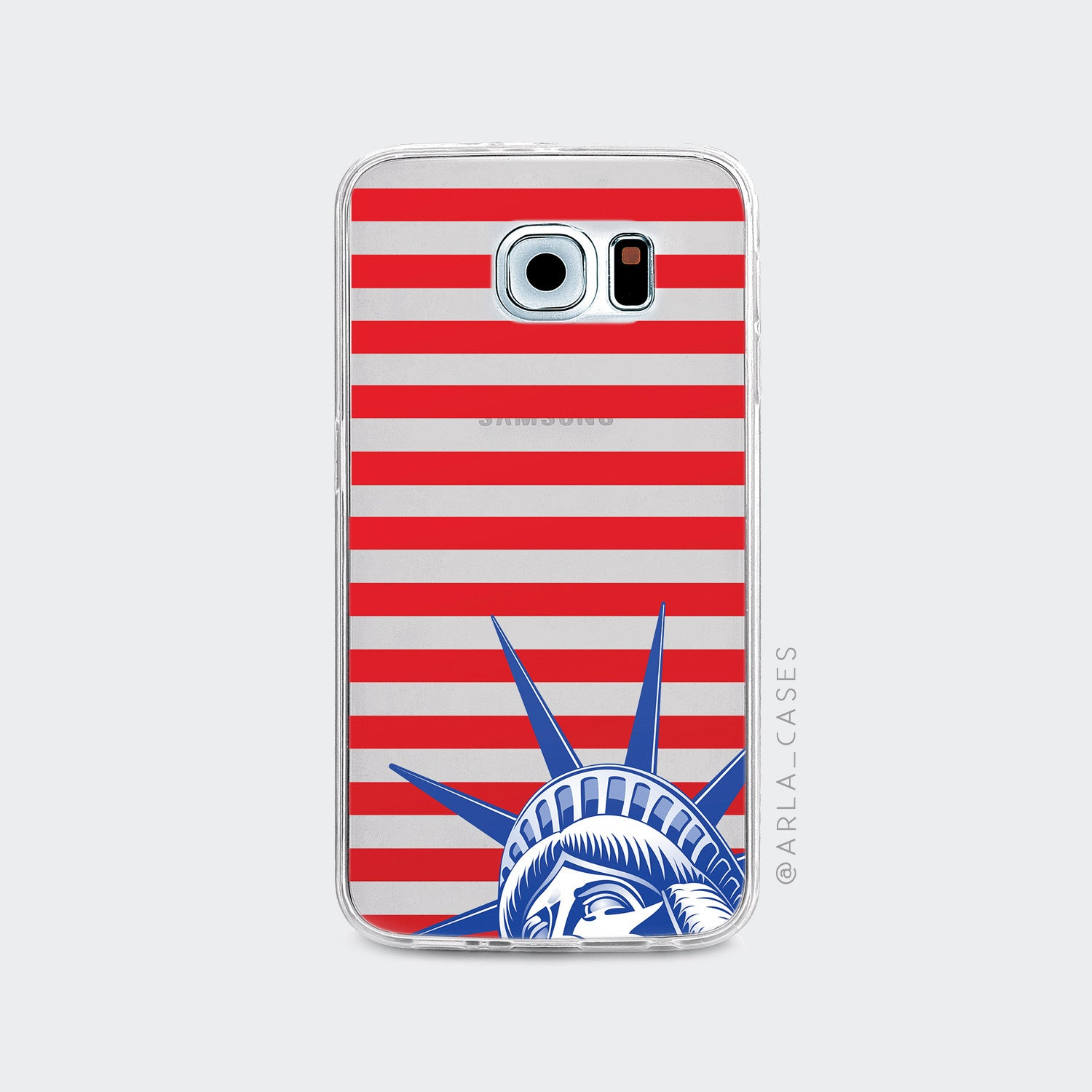 Statue of Liberty on Clear Printed Galaxy Case