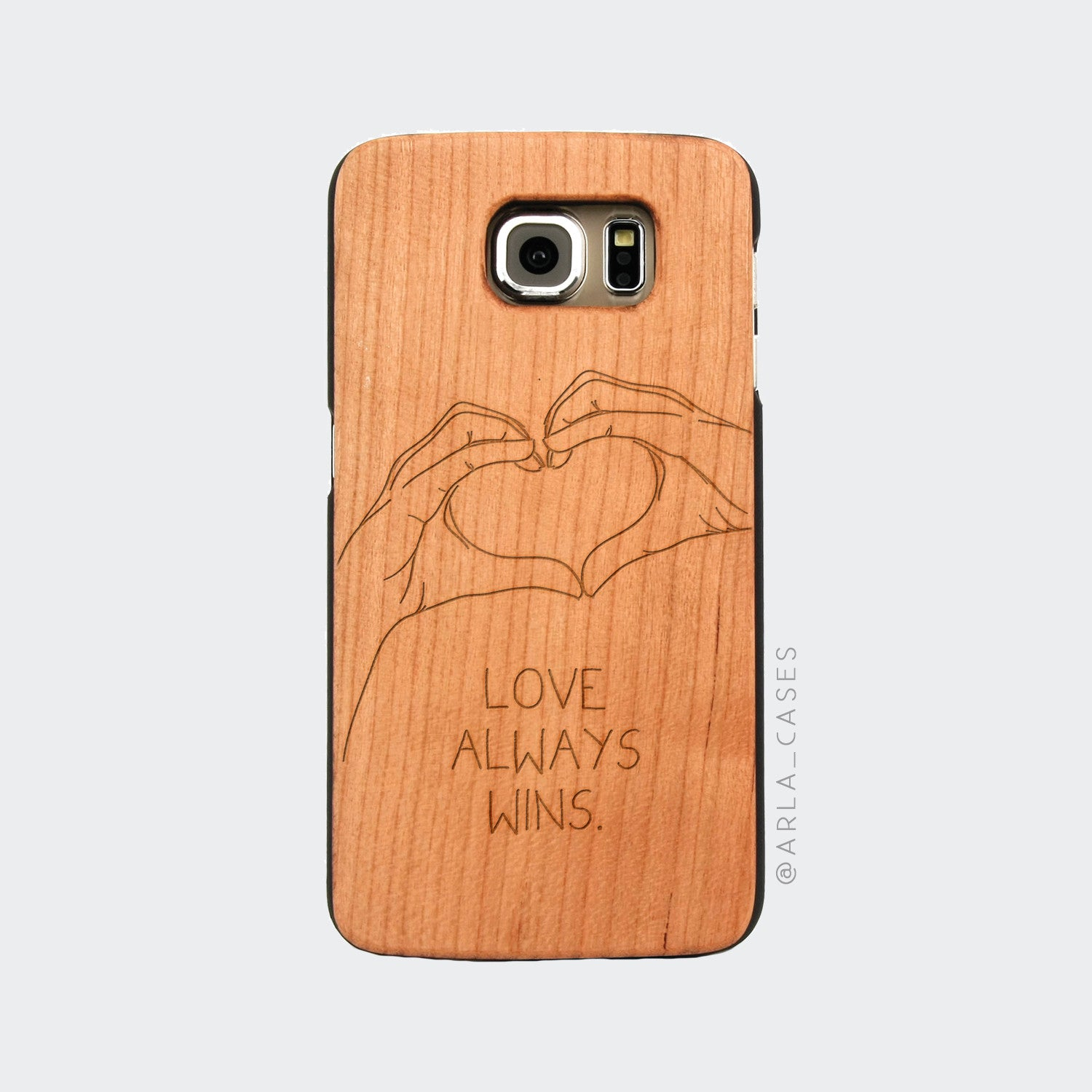Love Always Wins Engraved on Wood Galaxy Case