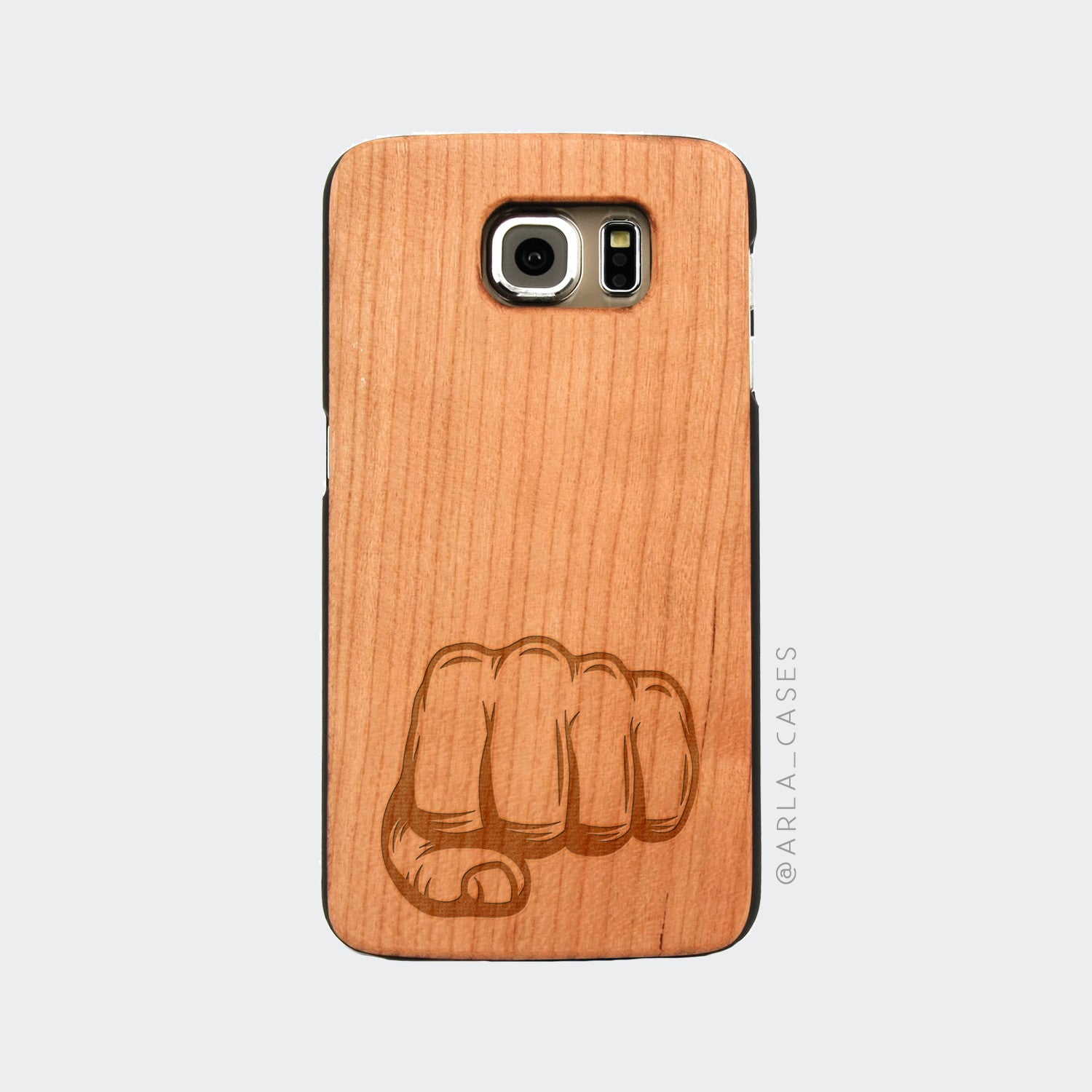 Fist Engraved on Wood Galaxy Case