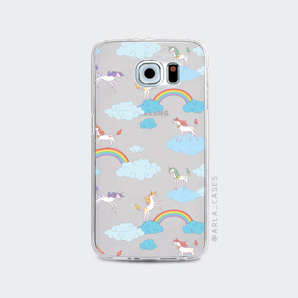 Rainbows and Unicorns on Clear Printed Galaxy Case