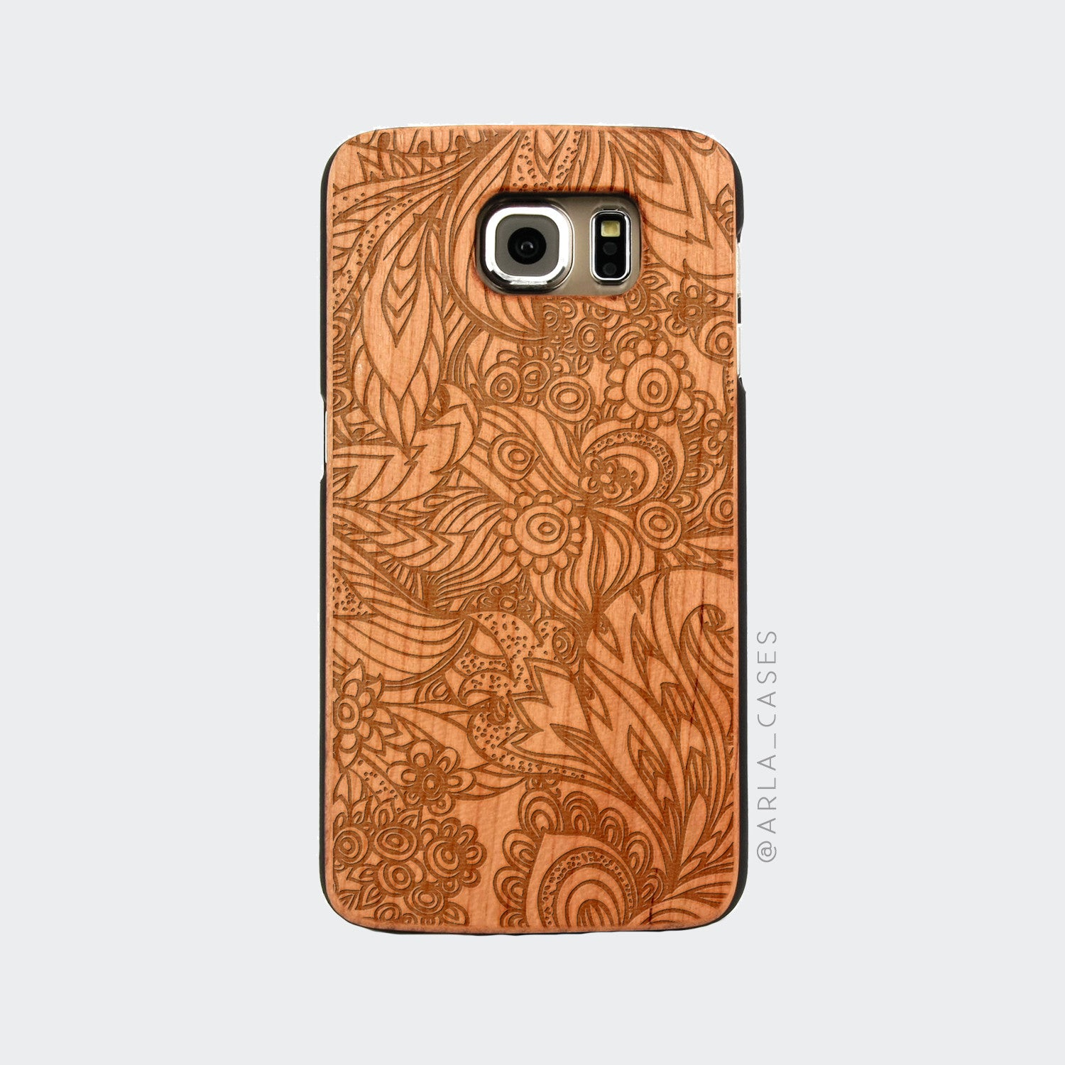 Floral Doodle Engraved on Wood Galaxy Case