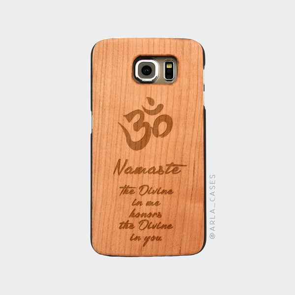 Namaste Quote Engraved on Wood Galaxy Case