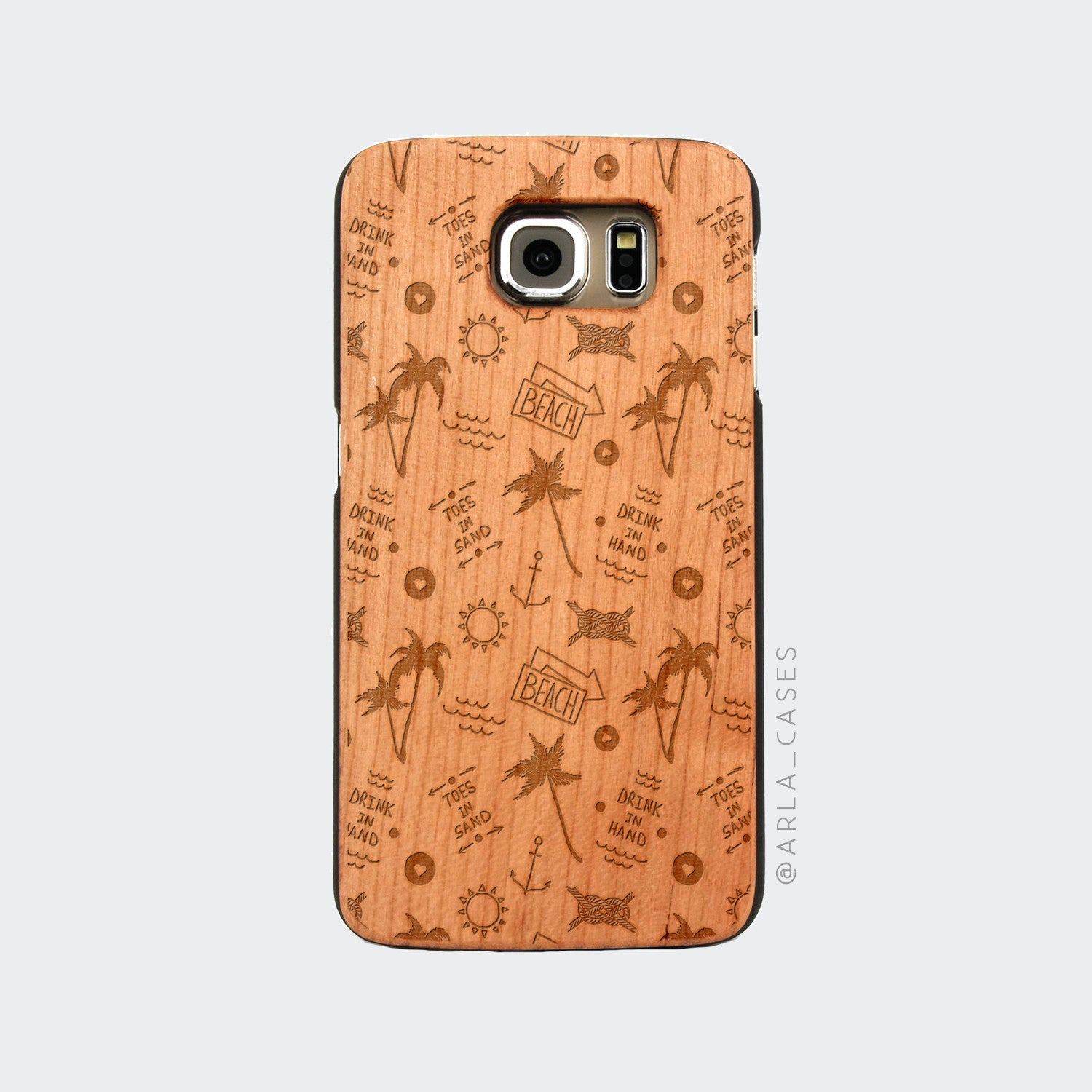 Summer Things Engraved on Wood Galaxy Case