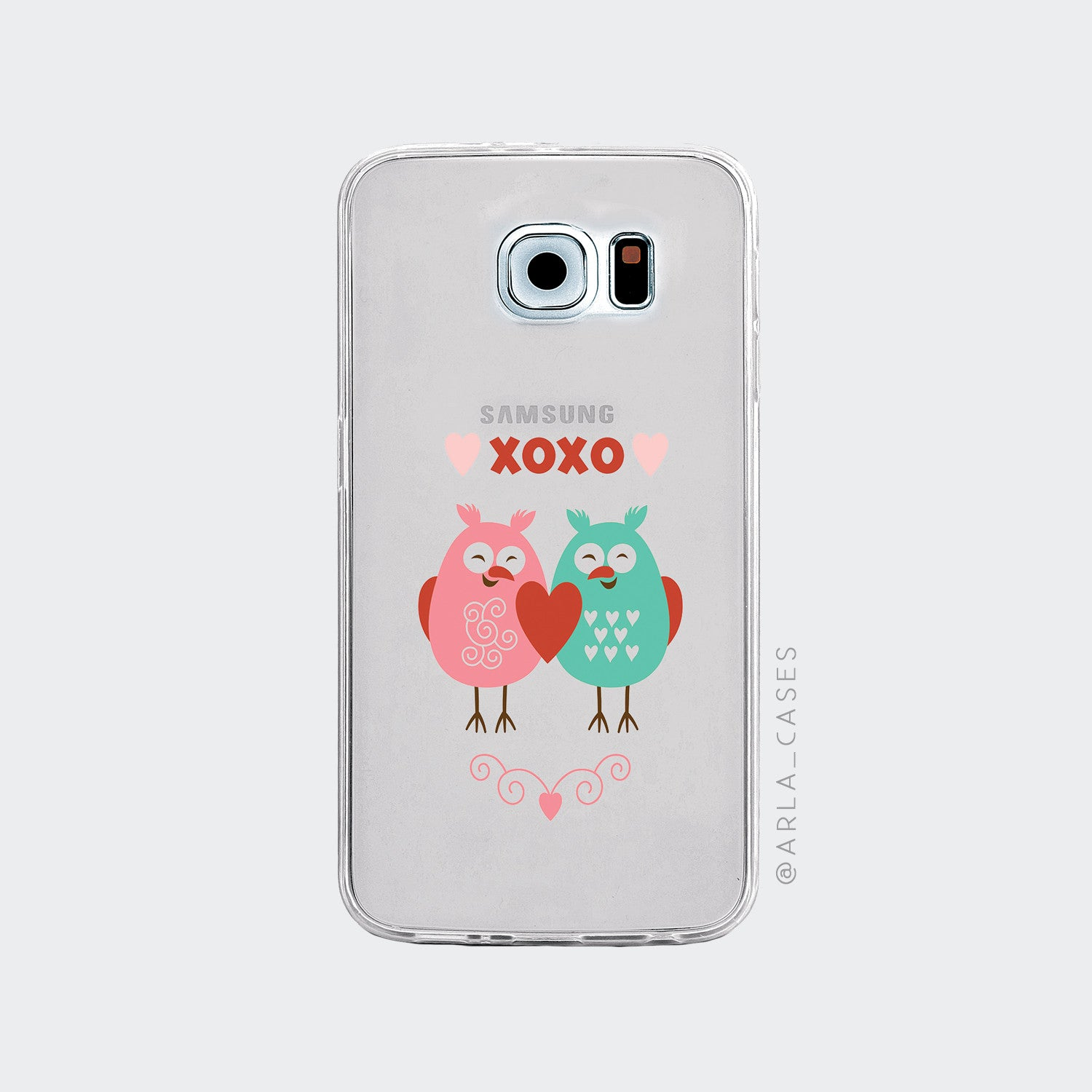 Love Birds on Clear Printed Galaxy Case