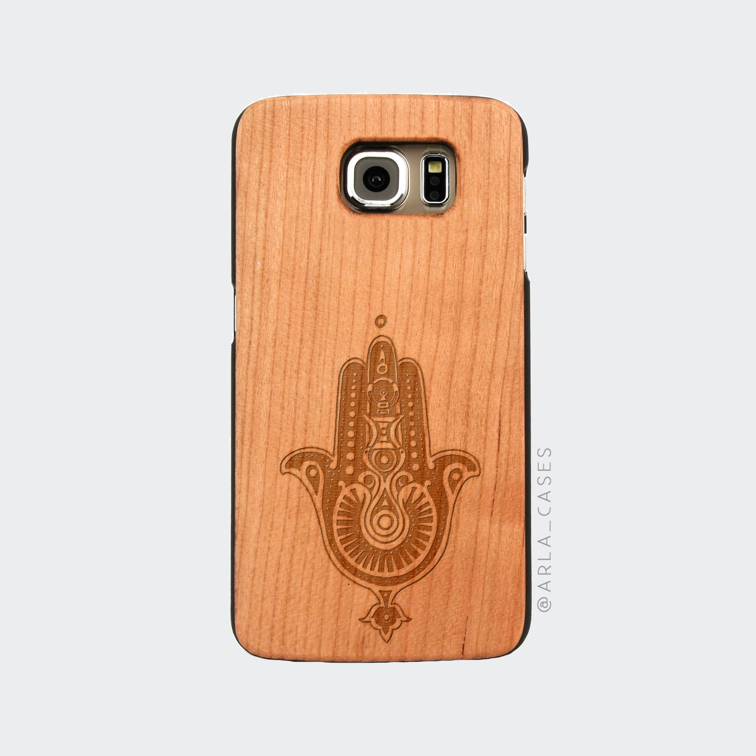Hamsa Hand Engraved on Wood Galaxy Case