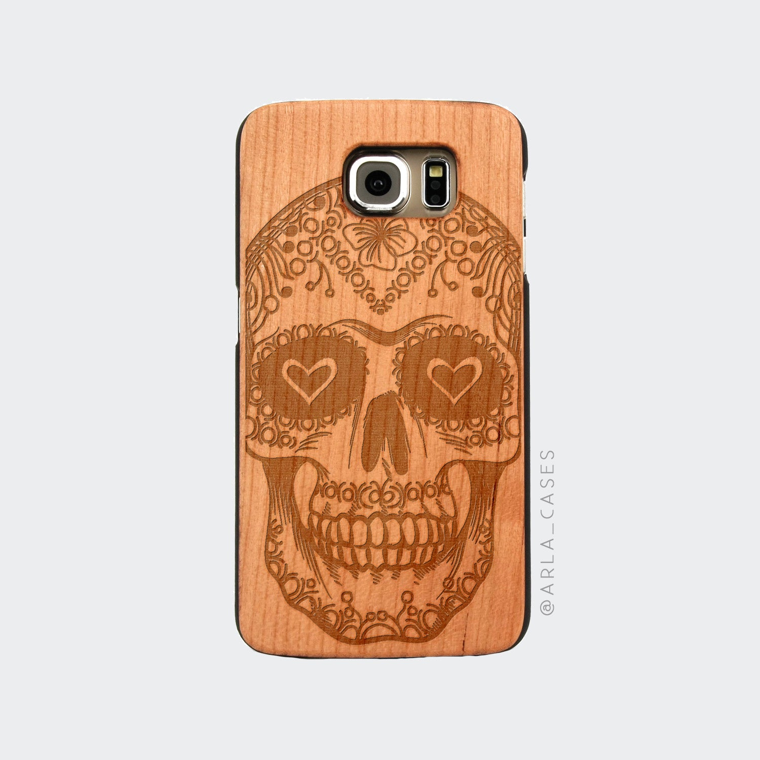 Sugar Skull Engraved on Wood Galaxy Case