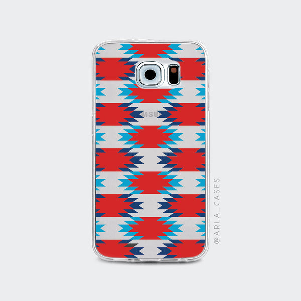 Red and Blue Aztec Pattern on Clear Printed Galaxy Case