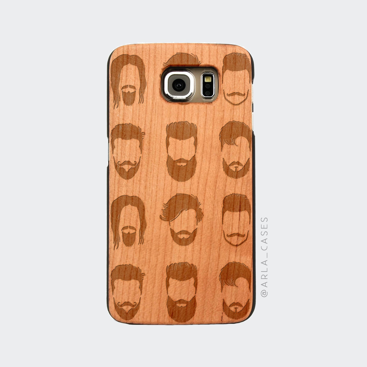 Beard Pattern Engraved on Wood Galaxy Case