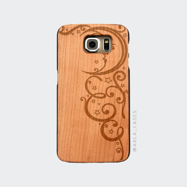 Moon and Stars Engraved on Wood Galaxy Case