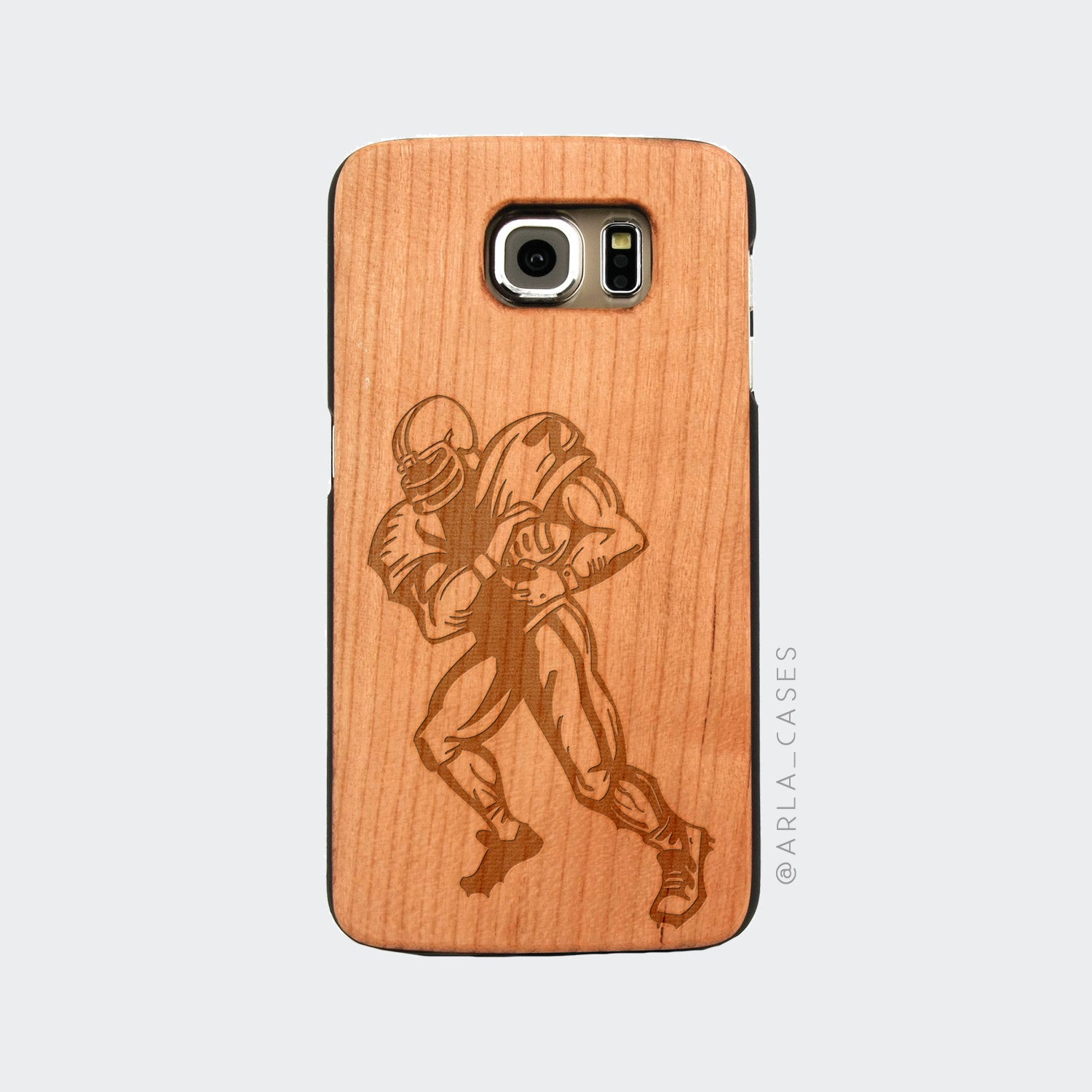 Football Player Engraved on Wood Galaxy Case