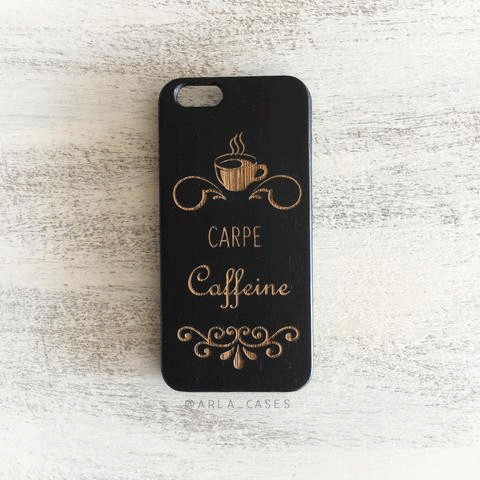 Carpe Caffeine Wood iPhone and Galaxy Phone Case