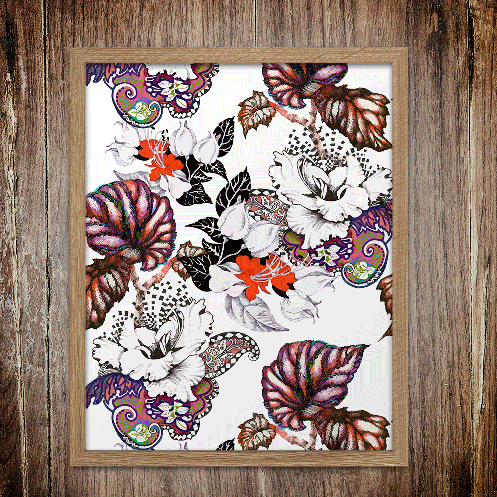 Abstract Floral Pattern Wall Art Print