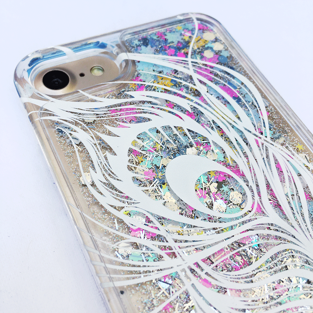 Peacock Feather Rainbow Liquid Glitter Phone Case