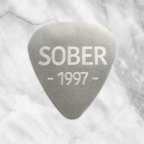 Custom Guitar Pick with Sobriety Date
