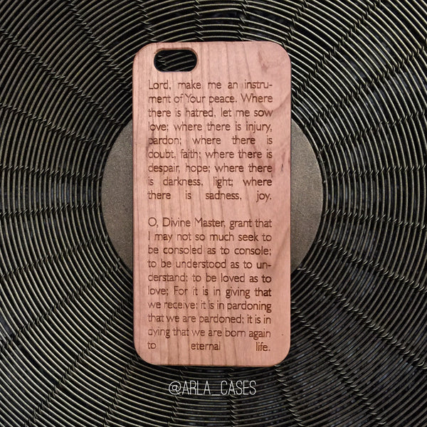 St Francis of Assisi Prayer - Wood Phone Case