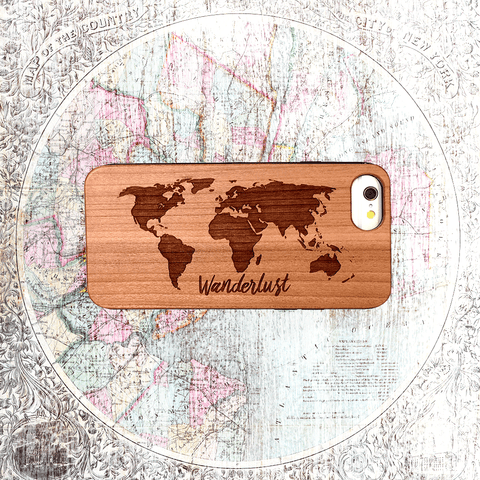 Wanderlust Wood iphone and Galaxy Phone Case with World Map