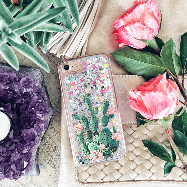 Blooming Prickly Pear on a Rainbow Glitter Phone Case