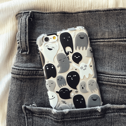 Halloween Gray Ghosts Phone Case - Clear TPU Phone Case
