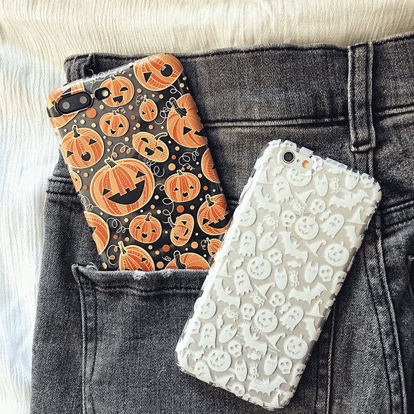 Halloween Pumpkins Clear TPU Phone Case