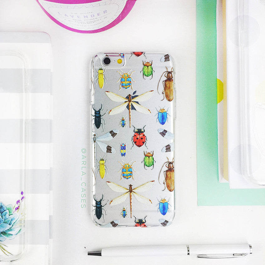 Insects on Clear Printed iPhone Case