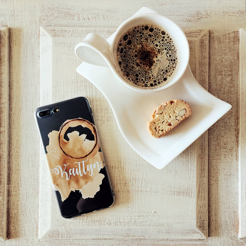 Custom Coffee Stain Name - Clear Print TPU Phone Case