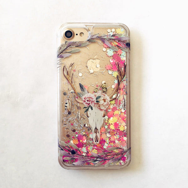 Floral Deer Skull Rainbow Glitter iPhone Case