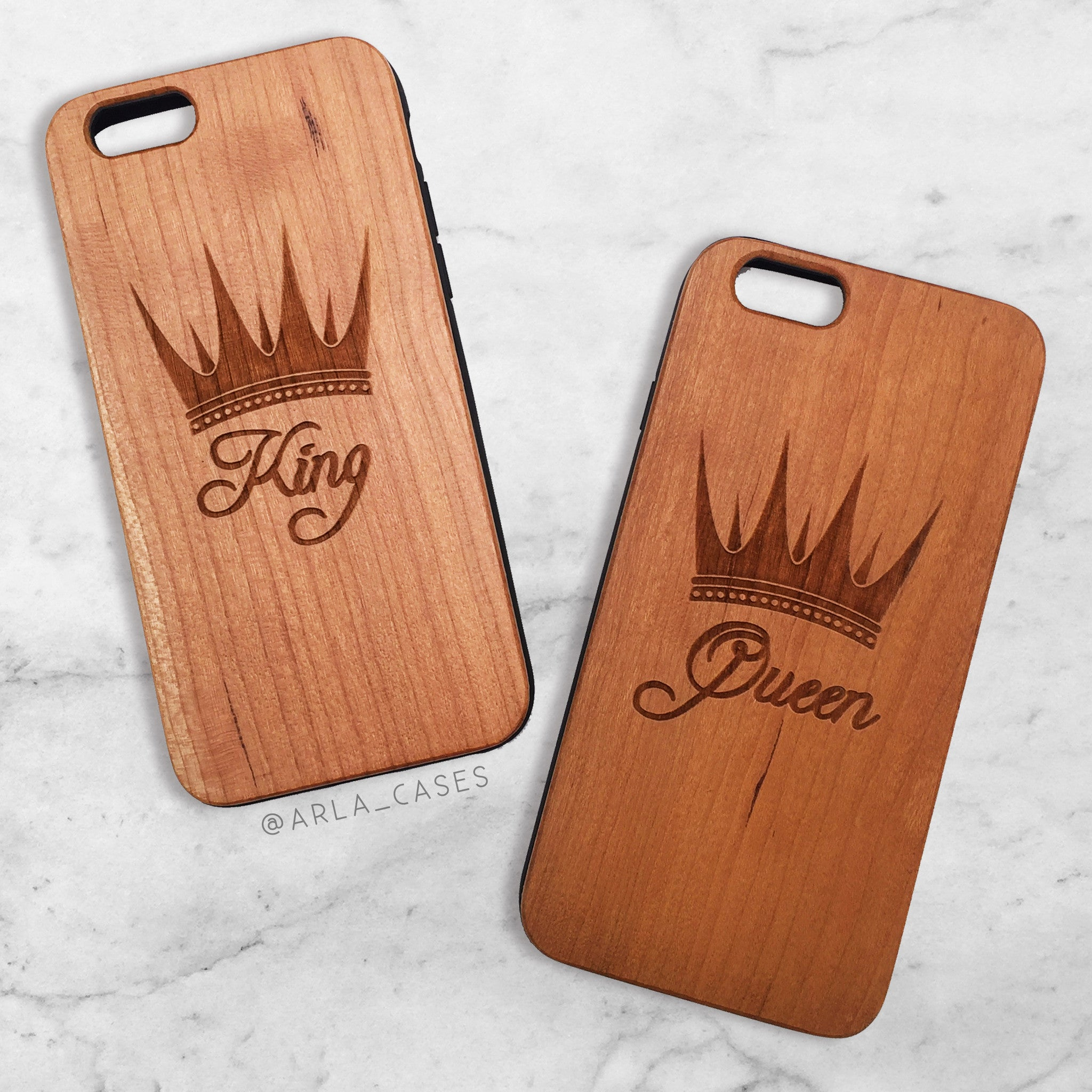 quality design 01d4e 0c50b King and Queen Wood Phone Case Set