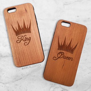 King and Queen Wood Phone Case Set