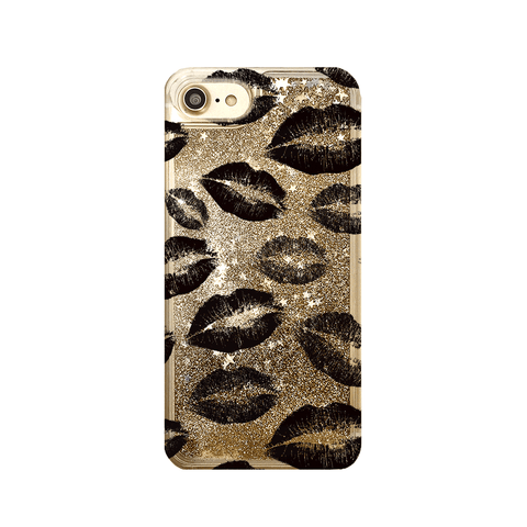 Black Lipstick Kisses Gold Glitter iPhone Case