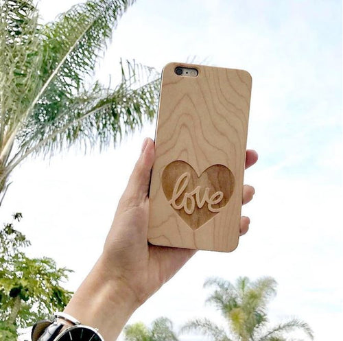 Love Wood Phone Case - Heart iPhone and Galaxy Case