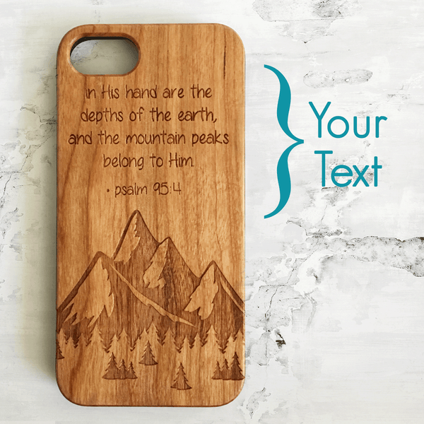 Personalized Mountains Wood Phone Case