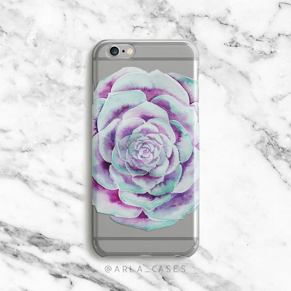Watercolor succulent flower on clear printed iphone case