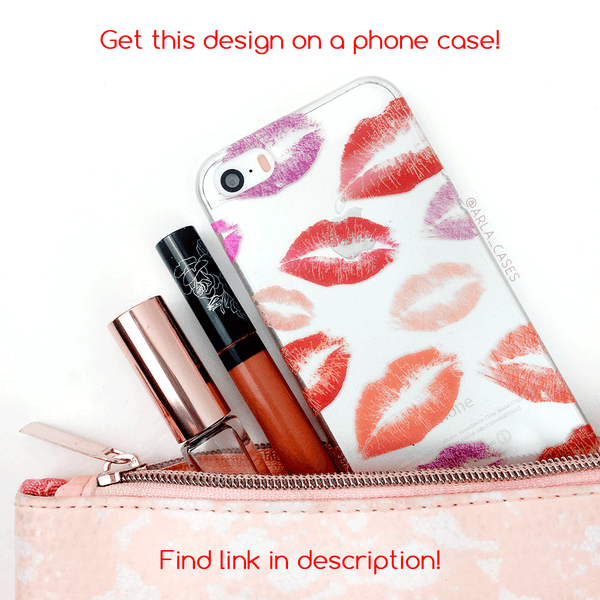 Red Lipstick Kisses Silver Glitter Phone Case