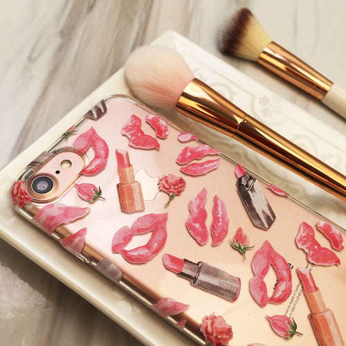 Pink Lipstick Clear iPhone and Galaxy Case