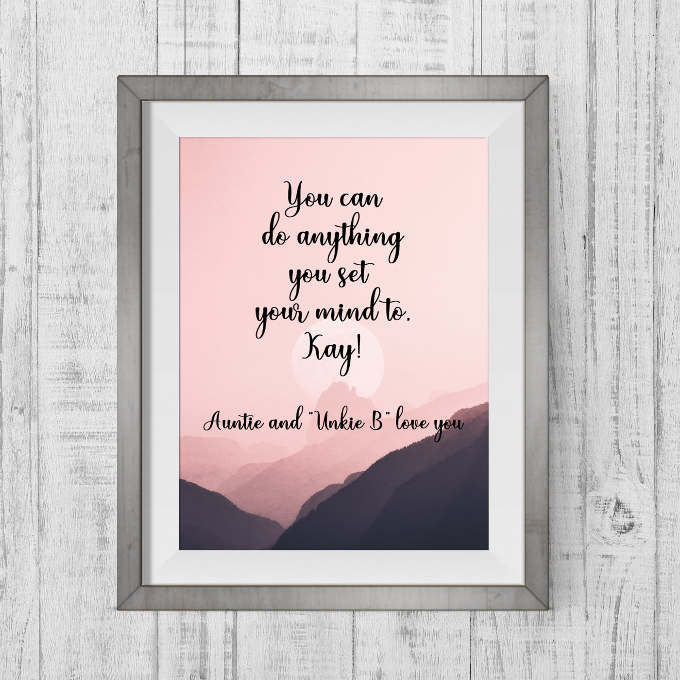 Custom Quote Mountain Scene Art Print - Pink