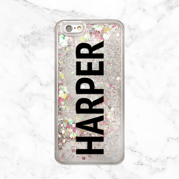 Custom Name Rainbow Glitter Phone Case