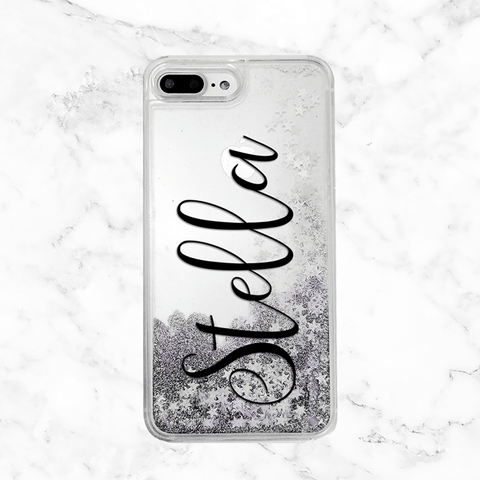 Custom Name Silver Glitter Phone Case