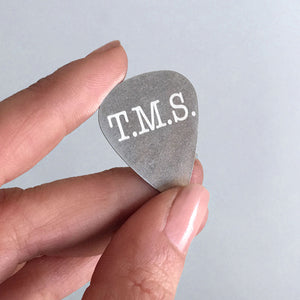 Custom Steel Guitar Pick with Three Initials
